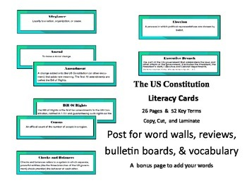 The US Constitution Common Core Aligned Literacy Cards 26 Pages & 52 Key Terms