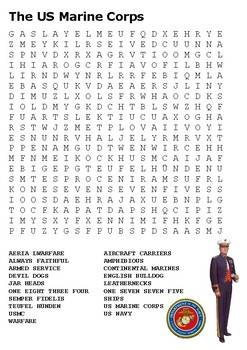 The US Marine Corps Word Search