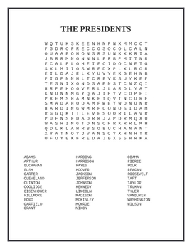 The U.S. Presidents Word Search Puzzle