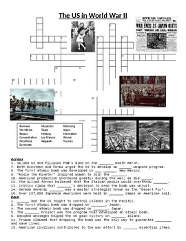 The US in World War II Crossword Puzzle or Web Quest