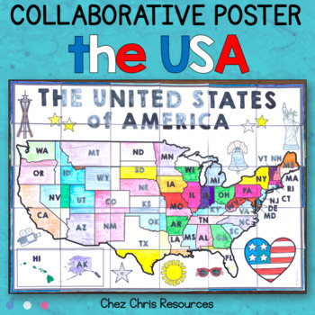 The USA Map + State Abbreviations - A Collaborative Poster