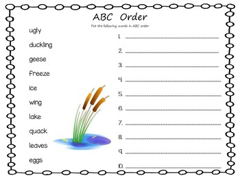 The Ugly Duckling ~ 40 pgs of Common Core Activities