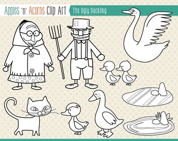 The Ugly Duckling Clip Art - color and outlines
