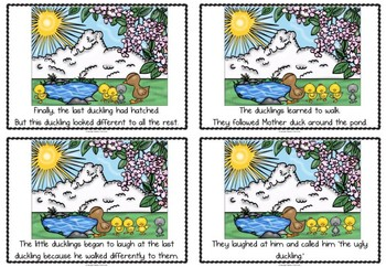 The Ugly Duckling story sequencing flashcards