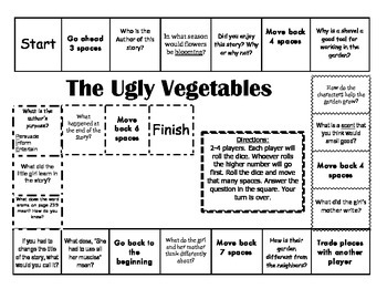 """The Ugly Vegetables"" 2nd grade Journeys comprehension game board"