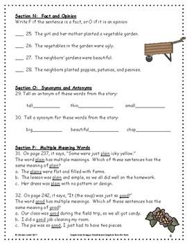 The Ugly Vegetables ~ Language Arts Workbook ~ 2nd Grade ~ HMH Journeys