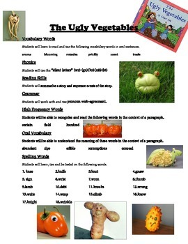 The Ugly Vegetables - Weekly Sheet - 2nd Grade Treasures