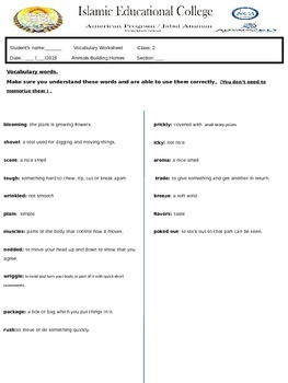 The Ugly Vegetables Worksheet