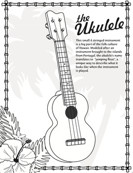 The Ukulele – A Stringed Instrument from Hawaii – Mini-Poster and Coloring Page