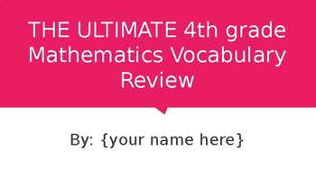 The Ultimate 4th Grade Math Vocabulary Review