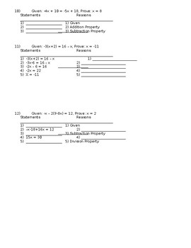 The Ultimate Algebraic Proofs Packet