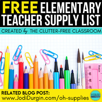 Supply List for Teachers | Classroom Set Up | Back to School