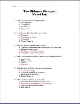 The Ultimate Divergent Novel Test