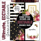 The Ultimate EDITABLE Teacher Planner Binder Calendar Black White Gold Vintage