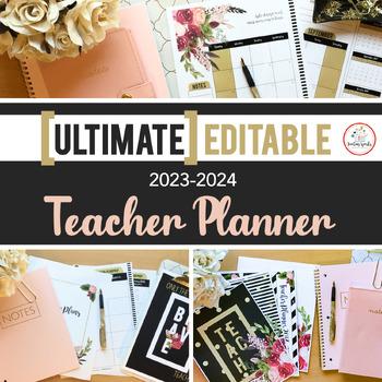 The Ultimate EDITABLE Teacher Planner Binder Calendar Black White Gold Vintage