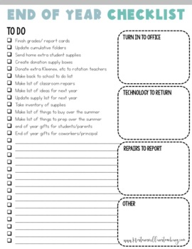 The Ultimate End of Year Checklist for Teachers