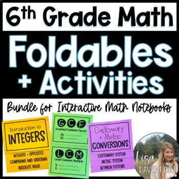 6th Grade Math Foldable & Activity Bundle for Interactive Notebooks