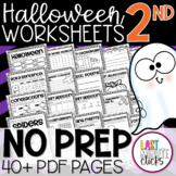2nd Grade Halloween Worksheets: 40 Page Review Bundle