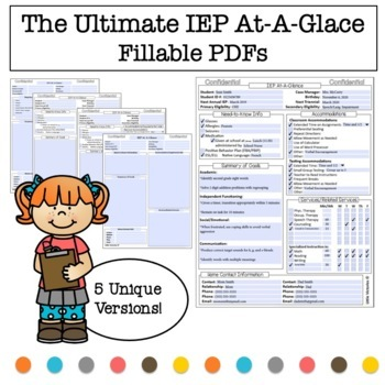 The Ultimate  IEP At-A-Glance (AKA IEP Snapshot), Click and Type on the PDF