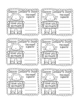 The Ultimate Mother's Day Card and Coupons! Black and White for Fun Coloring!