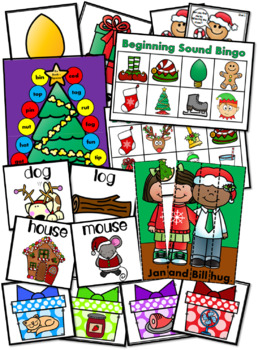 The Ultimate NO PREP Lang. Arts Christmas Kindergarten Pack! (Over 200 pages!)