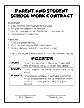 The Ultimate Parent Student School Work Contract