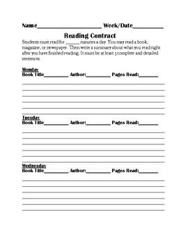 The Ultimate Reading Contract