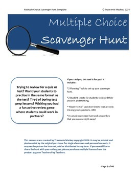 The Ultimate Scavenger Hunt: Multiple Choice Review Activity