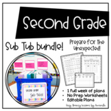 Second Grade Sub Tub Ultimate Bundle! (No Prep 1 Week Substitute Plans)