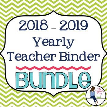 Yearly Teacher Binder Bundle - Green Chevron