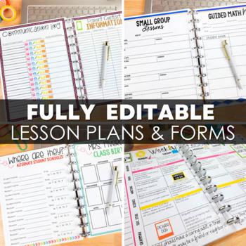 Editable Teacher Binder   Print & Digital Teacher Planner 2019-2020 FREE Updates