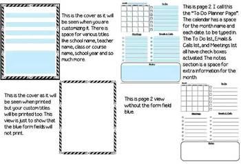 Teacher Planner & Lesson Plan Book Customizable Organizer