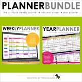 Teacher Binder EDITABLE Weekly & Year Planner BUNDLE - Excel & Google Sheets