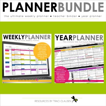 image relating to Weekly Planner Sheet known as Trainer Planner Templates EDITABLE 12 months System Package - Excel Google Sheets