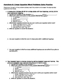 The Ultimate Writing Linear Equations from Word Problems Packet