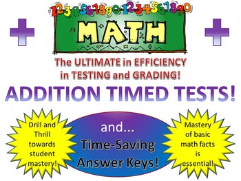 Addition Timed Tests with Time-Saving Answer Sheets