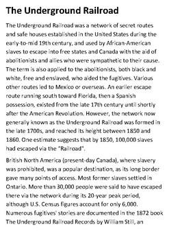 The Underground Railroad Handout