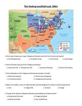 The Underground Railroad Map and Questions (no prep/sub plans)