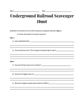 The Underground Railroad Scavenger Hunt