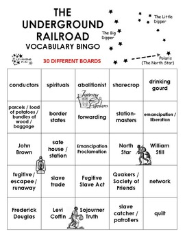 The Underground Railroad Vocabulary Bingo