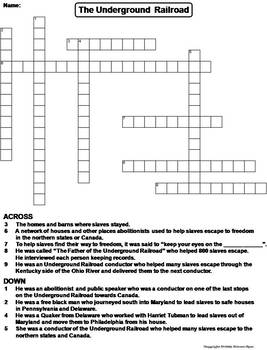 The Underground Railroad Worksheet Crossword Puzzle By