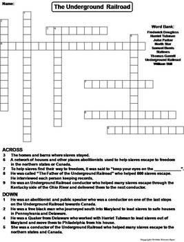 The Underground Railroad Worksheet/ Crossword Puzzle