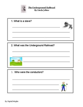 The Underground Railroad by Linda Johns Reading Comprehension Questions