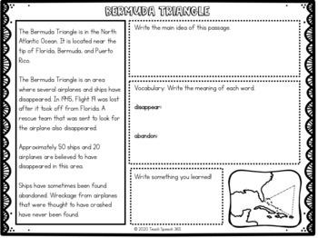The Unexplained Nonfiction Passages Speech Therapy