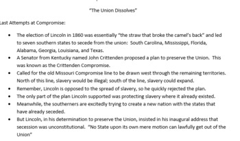 The Union Dissolves - Start of the Civil War