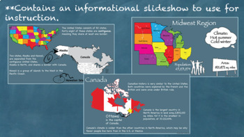 States and Regions Unit Interactive Notebook Printable or Google Drive