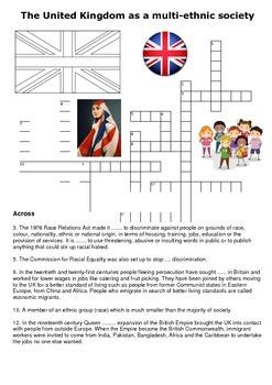 The United Kingdom as a multi-ethnic society crossword