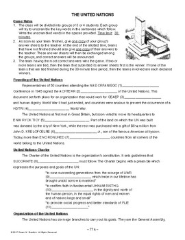 The United Nations, AMERICAN HISTORY LESSON 77 of 100, Fun Class Game+Quiz