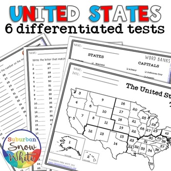 6 Differentiated United States Tests with States, Capitals, Abbreviations