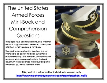 The United States Armed Forces Mini-Book and Comprehension Questions